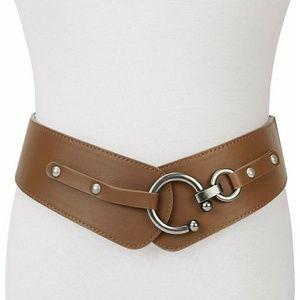 Accessories - Brown Stretch Waist Belt with Interlocking Buckle